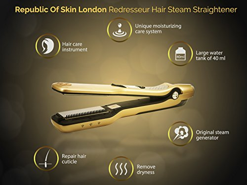 REPUBLIC OF SKIN® London REPUBLIC OF SKIN ® LONDON REDRESSEUR Imported Professional Hair Straightener with Tourmaline Ceramic Coating for Zero Damage Steamer (Gold)