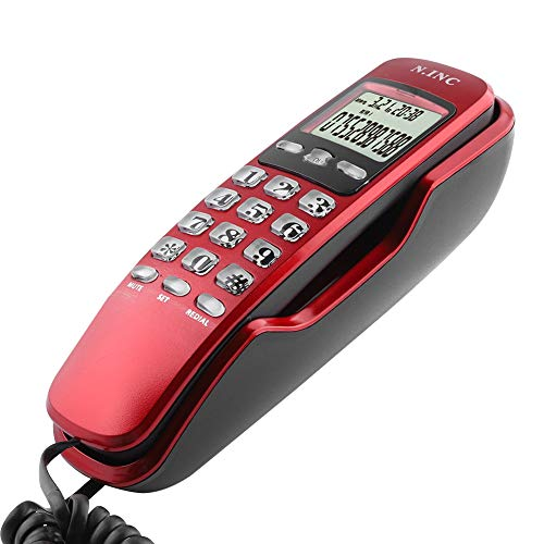 Eboxer Mini-Wand Telefon eingehende Anrufer ID LCD Display Festnetz-Telefon mit Anrufbeantworter für Home Office Hotel(rot) (Wand-schnurlos-telefon)