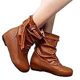 Stiefel Damen Boots Winterstiefel Tassel Soft Stiefeletten Non-Skid Mittlere Stiefel Slope Ferse Boot Geflochtenen Gürtel Schuhe Stiefel Freizeitschuh ABsoar