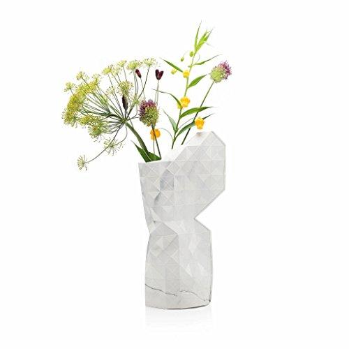 Papier Vase, Papiervase in Marmor weiß, groß (Für Weißer Vasen Marmor)