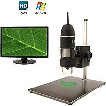 Microscopio Digital, USB cámara microscopio digital 1000x 2MP Handheld lupa del endoscopio para Windows XP/Vista/Win7/Win832bits y 64, built-8color blanco LED luces
