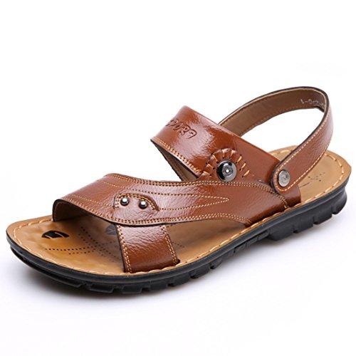 Men's Fashion Open Toe Genuine Leather Sandals yellow