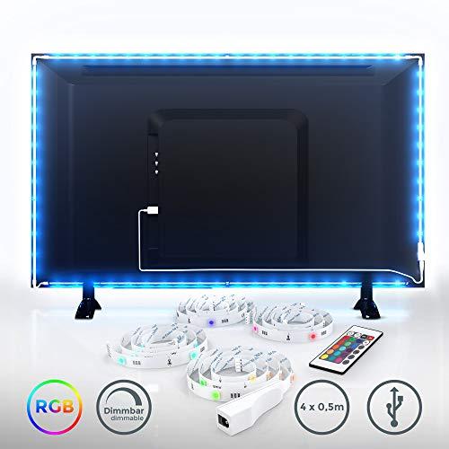 LED TV Hintergrundbeleuchtung Set I 2m inkl. USB Anschluss I LED Strip für Fernseher PC-Bildschirm mit Fernbedienung I 16 Farben I Selbstklebend für 40-60 Zoll TV