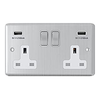 Satin Chrome Classical 2 Gang Socket w/ USB Charging Ports White Insert Metal Rocker Switches - Alliance Electrical 13 Amp Double Plug Socket & Dual USB Power Outlet
