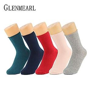 LILIKI@ Baumwolle Frauen Socken Vintage Solide Frühling Herbstmode Kurze Kompressionsqualität Strumpfwaren Kleid Weibliche Socken