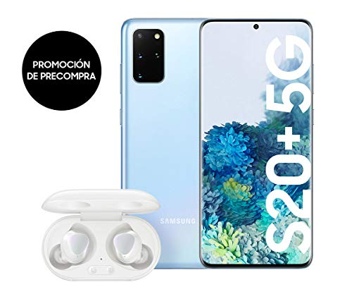 Samsung Galaxy S20+ 5G - Smartphone  6.7' Dynamic AMOLED (12GB RAM, 128GB ROM , cuádruple cámara trasera 64MP, Octa-core Exynos 990, 4500mAh batería, carga ultra rápida)  Cloud Blue [Versión española]