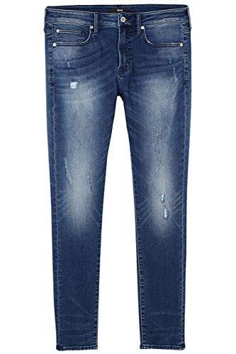 ff6c52bd2371 ... FIND Skinny Jeans Herren Vintage-Waschung mittelhoher Bund Blau (Mid  Indigo)