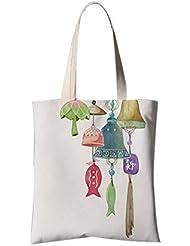 Fleur de style japonais Illustrator Sac à bandoulière Sac de voyage Sac à provisions Vent Chimes