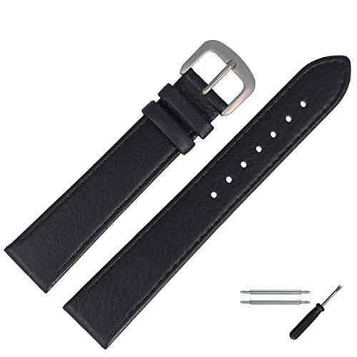 MARBURGER Uhrenarmband 18mm Leder Schwarz Titan - Werkzeug Montage Set 7591810000420
