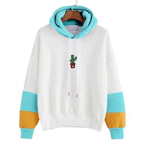 TWIFER Damen Langarm Kaktus Print Kapuzenpulli Hoodie Pullover Baumwolle Sweatshirt (S, Himmelblau) (Hollister Hoodie Für Jungen)