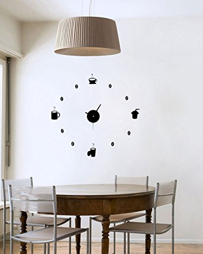Vetrineinrete® orologio da cucina a parete adesivo sticker componibile tridimensionale 3d nero moderno decorazione murales colazione caffè 0010b