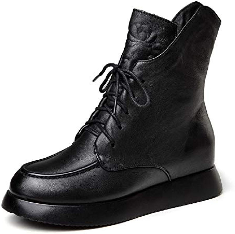 ZHRUI Stivali con Tacco Nascosto da Donna. Scarpe con Cerniera Cerniera Cerniera in Pelle Nera | riparazione  d89726