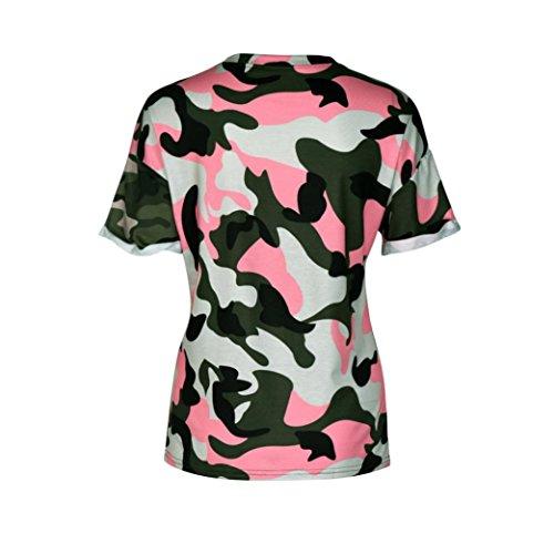 T-shirt Femme,Jimma Femme T-Shirt Camouflage impression Tops manches courtes débardeurs gilet Blouse Rose vif