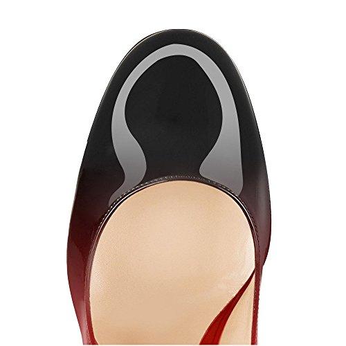 uBeauty Scarpe da Donna Punta Rotonda - Scarpe Col Tacco - Scarpe Col Tacco - Scarpe con Tacco a Blocco - 100MM Tallone di Blocco nero-rosso