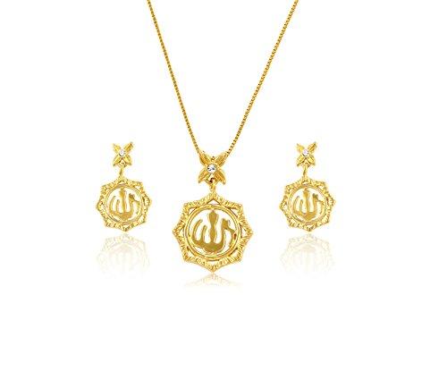 Schmuckset Halskette + Ohrringe 'Allah' für Muslime - 14K vergoldet