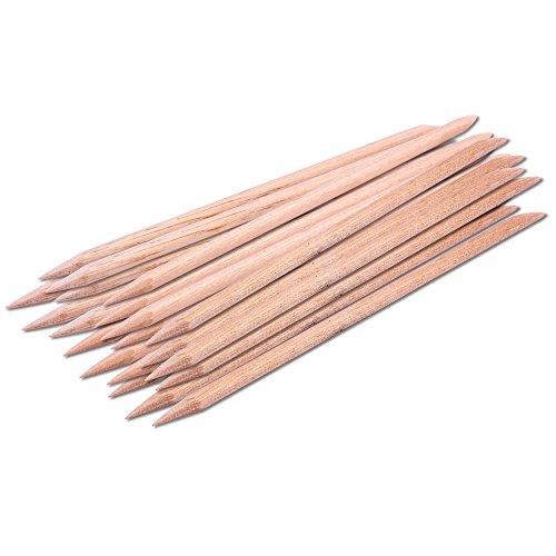 SMILEQ 20 Stücke Nagel Kunst Orange Holz Stick Nagelhautschieber Remover Pediküre Maniküre Werkzeug (Beige)