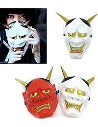 erbai Halloween Masque Japonais Prajna Masques de déguisement Fantôme Démon pour Halloween Festival Cosplay Costume Décorations de Fête