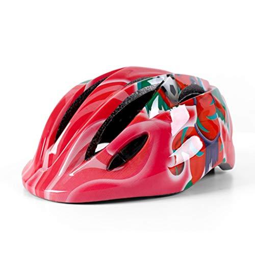 Fahrradhelm für Kinder/Schutzhelm für Kinder einstellbar, mit sichereren LED-Leuchten , herausnehmbares Futter (Farbe : Pink)