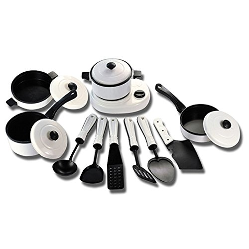 PovKeever 11Pcs Mini Plastic Cooking Toy, Dishwasher Safe Pots and Pans with Cooking Utensils Play Kitchen Toys Pretend Cookware Miniature Playset Toy Gift for Kids