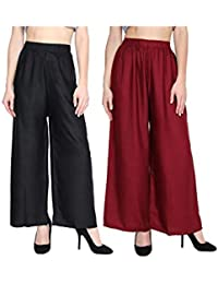 """ST device with Star Delight Women's 100% Pure & Soft Rayon Pant Palazzo Combo (Pack of 2, Free Size) (26"""" to 40"""" inch Waist size)"""