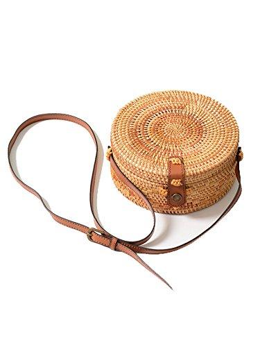 GARYOB Stroh Strandtasche Runde Woven Rattan Schultertasche Basket Handtaschen und Geldbeutel