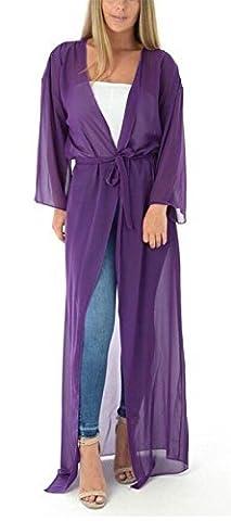 Femmes Maille Transparente Avec Ceinture Kimono En Mousseline De Soie Maxi À Manches Longues Pour Femmes Cardigans Haut - Pourpre, UK 16-18