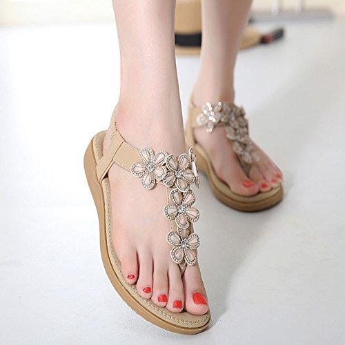 Minetom Donna Boemo Stile Sandali Di Estate Fiori Di Diamanti Pantofole Clip Toe Scarpe Spiaggia Piatto Infradito Sandali Albicocca
