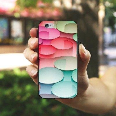 Apple iPhone X Silikon Hülle Case Schutzhülle Kreise Papier Struktur Silikon Case schwarz / weiß