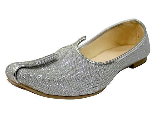 Zapatos de Novia para Hombre para Zapatos Indios Sherwani Jutti Mojari, Color Dorado, Talla 46 EU