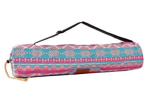 Borsa da yoga »Vikram« di #DoYourYoga in pregiata tela Canvas, lavorazione di qualità, adatta ai tappetini da yoga e pilates di dimensioni fino a 186 cm x 63 cm x 0,6 cm, fantasia aztechi rosa