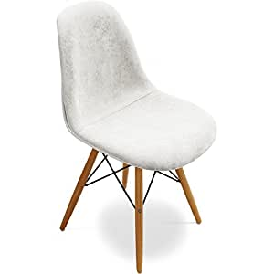 Chaise DSW Charles Eames Style - Tissu Blanc