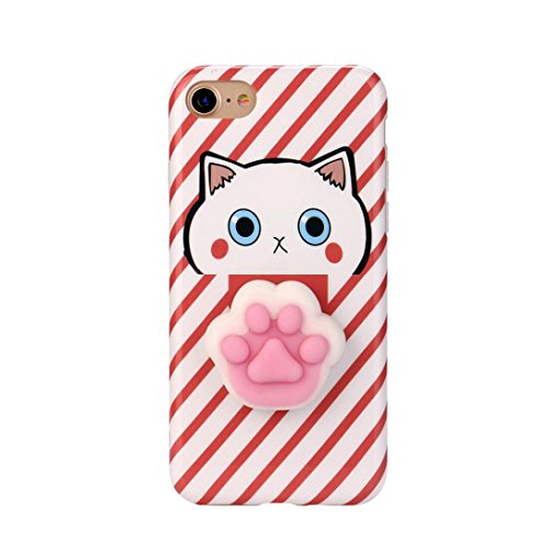 Cover per iPhone 7, Tpulling Custodia per iPhone 7 Case Cover Copertura molle della cassa del gel TPU di Sequenza animale sveglia 3D di Squishy per il iPhone 7 4.7 pollici (Red) Red