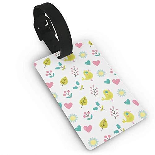 Travel Luggage Tags,Cute Bird and Heart PVC-Geschäftskoffer-Identifikations-Aufkleber, PVC-Handgelenk-Band-Taschen-Umbau (Heart Of Texas Film)