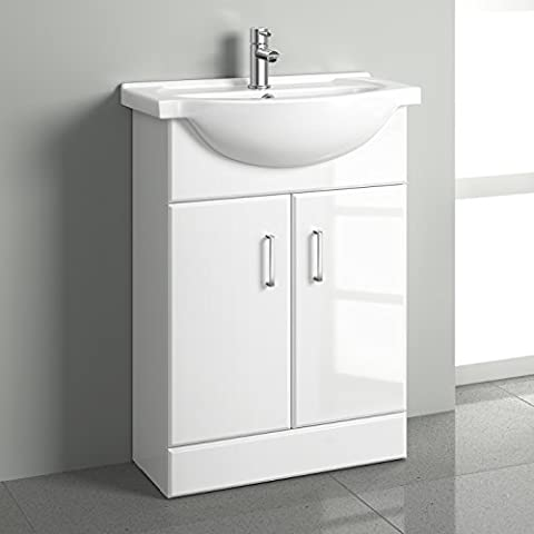 White Gloss Bathroom Vanity Unit Basin Sink 550mm Cloakroom Storage Cabinet Ceramic Furniture - 5 Year Guarantee