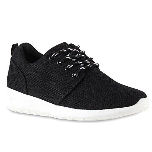 Damen Herren Sneaker Sportschuhe schwarz Turnschuhe Runners mit Blumen Print in mehreren Farben Schwarz Brooklyn