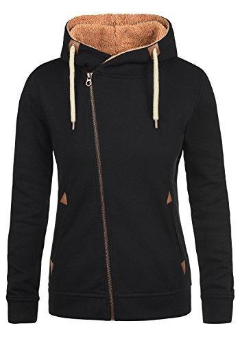 DESIRES Vicky Pile Zip Hood Damen Lange Sweatjacke Cardigan Sweatshirtjacke Mit Teddy-Futter Und Kapuze, Größe:XS, Farbe:Black PIL (P9000)