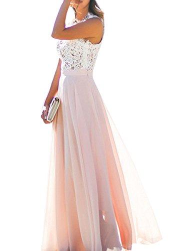 OMZIN Damen Casual Kleid V-Ausschnitt Festlich Brautjungfer Maxi Kleid Rosa XL