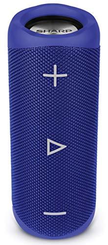 Sharp GX-BT280 (BL) Stereo-Bluetooth-Lautsprecher - kräftiger Bass - hochdynamischer Klangbereich / 12 Stunden Spielzeit/ Staub-Spritzwassergeschützt/ Mikrofon für Telefonate, Google & Siri - Blau Bl Stereo