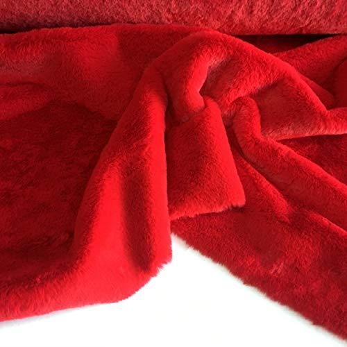 Tessuto ECO PELLICCIA PELUCHE per abbigliamento - A metraggio a partire da 50 CM DI LUNGHEZZA x 155 CM di LARGHEZZA FISSA (1/2 Metro, Rosso)