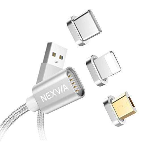 Magnetisches Multi USB Kabel, NEXVIA Nylon 3 in 1 Magnetic Ladekabel Datenkabel mit Micro USB Typ C Magnet Adapter für Phone X/ XS/ XR/ 8/ 7, iPad, Samsung Galaxy S9/ S8/ S7/ A3/ A5, Huawei P20 P10, Honor, Sony, Kindle, LG, Echo Dot (Silber)