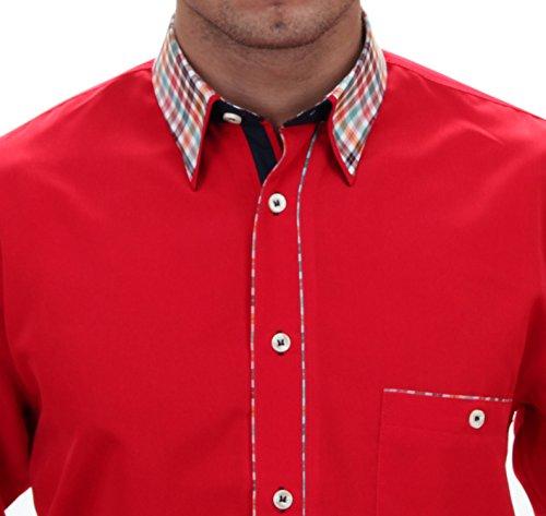 Besonderes Hemd in rot, für Herren BESTE QUALITÄT, HK Mandel Freizeithemd Langarm Normal Nicht Tailliert, 2086 Rot