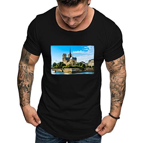 Andouy Mode Herren T-Shirt Notre Dame de Paris Mit O-Kragen S-XXXL(3XL.BlackF)