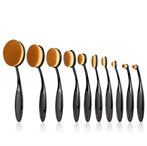 Pinceau Maquillage,ONEGenug 10pcs Brosse à Dents Ovale Professional Oval Brush pour Lèvres, Poudre, Anti-Cernes, Fards à paupières, Eye Liner