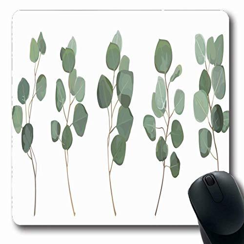 Luancrop Mousepads für Computer Blätter Aquarell Blatt Eukalyptus Silber Dollar Greenery Gum Natur Baum Green Branch Floral Plant rutschfeste längliche Gaming Mouse Pad (Ein-dollar-gum)