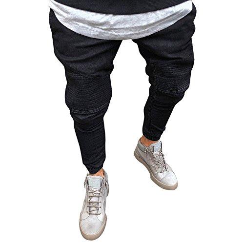 Kobay Pantaloni Elastico Slim Fit Denim Uomo Casual diritte Lunghe Pantaloni  Skinny Jeans(Nero f08fb191afd2