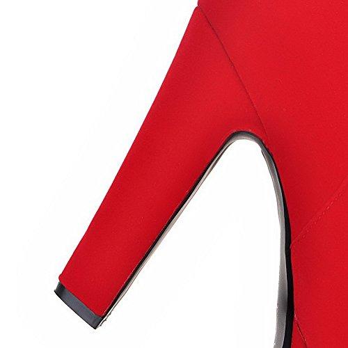 VogueZone009 Donna Bassa Altezza Puro Cerniera Punta Tonda Tacco Alto Stivali Rosso