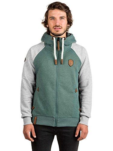 Naketano Male Zipped Jacket Fucking for Freedom III forrest / grey melange