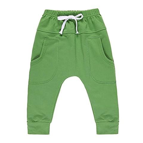 CHIC-CHIC-Pantalons enfant Sport Fashion Trending Mi-Long avec 2 Poches Plaquées sur Côtés (12-18mois, vert)