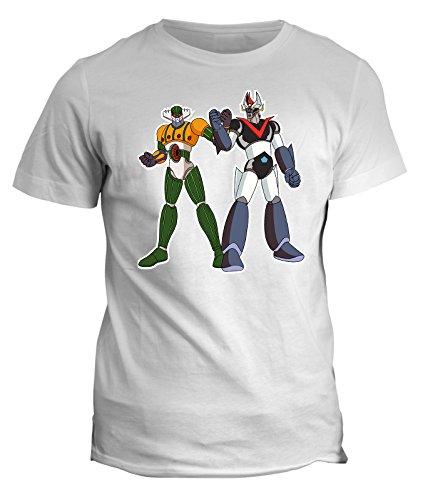 Tshirt Jeeg robot vs mazinga - anime manga giappone- cartoon cartoni anni 80 tshirt uomo donna bambino - in cotone by Fashwork Bianco