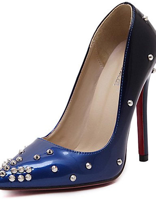 ZQ Zapatos de mujer-Tac¨®n Stiletto-Confort / Puntiagudos-Tacones-Boda / Vestido-PU-Azul / Rojo , red-us8.5 /...